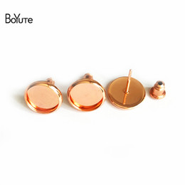 Wholesale Earrings Blanks - BoYuTe 50Pcs To Fit 8MM 10MM 12MM Stud Earring Blank Tray Rose Gold Plated Cabochon Base Setting Diy Jewelry Making