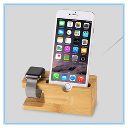 Wholesale I Phone Holders - 100% Natural Bamboo Charging Dock Station Bracket Cradle Stand Phone Holder For Apple iPhone 6S Plus 7 Plus For i watch