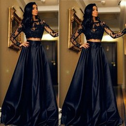 Wholesale Lace Splice Dress - Navy Blue Lace Spliced Prom Dresses 2017 Two Pieces Sheer Long Sleeves A-line Evening Dress for Special Occasion