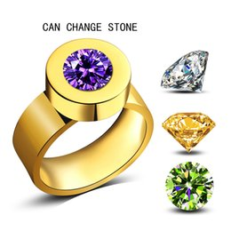 Wholesale Stone Rings Designs Men - Fashion Men Women jewelry Brand Design Change Stone Rings Wedding Engagement 18k Gold Plated Stainless Steel AAA Zirconia Ring Large Size