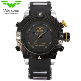 Wholesale Led Black Leather Band - USA Luxury Brand WOLF-CUB Sport Watch Men Relogio Masculino 3D Design Silicone Band LED Digital Black Quartz Mens Watches