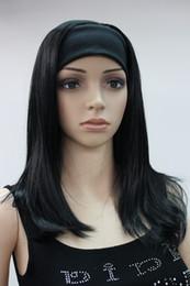 Parrucche ricciate sintetiche online-2017 Nuova parrucca sexy nera a getto 3/4 con fascia mezza sintetica riccia lunga da donna