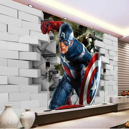 Wholesale Chinese Kitchen Decor - 3D Captain America Wallpaper Avengers Photo Wallpaper Cool Wall Mural Boys Kids Room decor Club Bedroom TV background wall paper