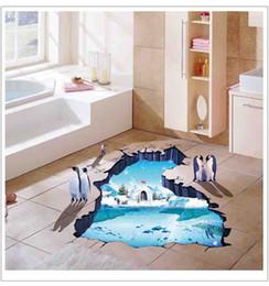 2019 ragazzo amante del fumetto Adesivi murali 3D Pinguino Ghiacciaio polare per bambini Camere Home Decor Soggiorno Camera da letto Muurstickers Per Kinderen Kamers
