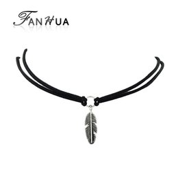 Wholesale Black Feather Choker - Velvet Choker Gothic Black Brown White Leather Choker Necklace Antique SIlver Feather Shape Charm Multilayer Chain Necklace