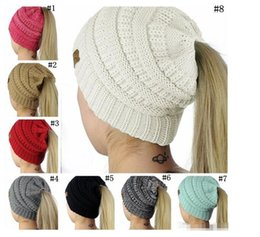 Wholesale Bun Accessories - CC Ponytail Hats BeanieTail Soft Stretch Cable Knit Messy High Bun Ponytail Beanie Hat Knitted Crochet Skull Beanie