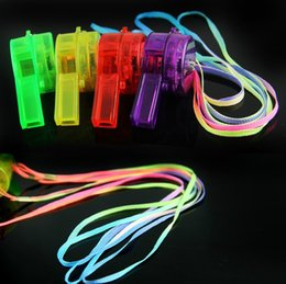 Wholesale Whistle Led Party - Wholesale- 30pcs lot blinking bar multi color LED Whistle blinking Light Up Funing Party niose maker toy cheer up props decoration