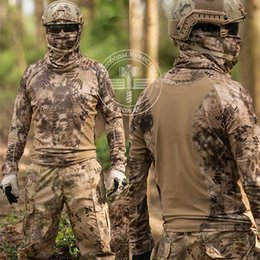 Wholesale Army Bdu - HIGHLANDER NOMAD Long Sleeve Crew T-Shirt Quick Dry Tee Top Kryptek Hunter BDU shirt Camping Hiking Wear Tactical Army Quick Dry Camo