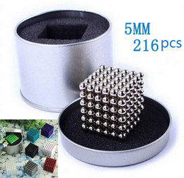 Wholesale Magnetic Ball Puzzles - 216Pcs set 5mm Shapable Magnetic Balls Neo Cube Magic Cube Magnets Puzzle Fidget Toys High quality Anti Stress Cube with Metal Box