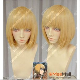 Wholesale Armin Cosplay - free shipping >wig cap Attack on Titan Armin Arlert Short Blonde Cosplay Party Wig