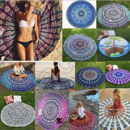 Wholesale Cotton Beach Sarongs - Round Mandala Indian Tapestry Beach Towel Bikini Beach Cover Ups Bohemian Hippie Beachwear Beach Sarongs Shawl Bath Towel Yoga Mat OOA1254