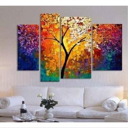 Wholesale trees canvas art - handpainted oil painting palette knife paintings for living room wall large canvas art cheap abstract tree multi panel 4 pieces