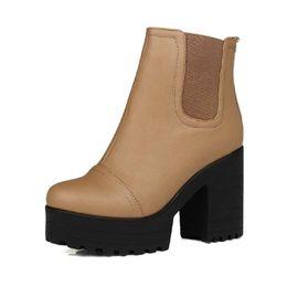 Wholesale Zipper Winter Boots For Women - Wholesale-LapoLaka Plus size 34-43 Zapatos Square High Heels Shoes Autumn Winter Shoes Snow Boots Zipper Platform Ankle Boots for Women