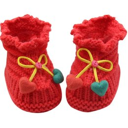 Wholesale Crocheted Kids Shoes Boots - Wholesale- Cute Newborn Kids Baby Boys Girls Infant Crochet Knit Socks Boots Crib Shoes Prewalker 0-6 Months