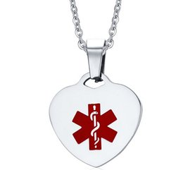 Wholesale Stainless Steel Id Necklace - Wholesale custom enamel silver stainless steel medical alert id necklace Hypo-allergenic 316l Surgical Grade Stainless Steel Jewelry