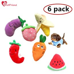 Wholesale Plush Toys For Small Dogs - 6 Pack -Squeaky Plush Dog Toy Cute Fruit Vegetable Pet Dog Cat Sound Toy For Small Dog Chihuahua Set Of 6