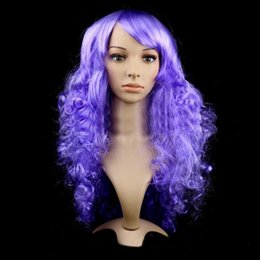 Wholesale Long Red Purple Wigs - Wigs 8 Colors Long Natural Wave Ombre Green Synthetic Hair Cosplay Wigs