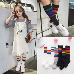 Wholesale Baby Socks Rainbow - New Korean Baby Socks Kids rainbow cotton Spring Autumn girls boys Best Socks Children stripe Knee High Socks Child accessory Lovekiss A45