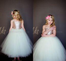 Wholesale Cheap Sequin Little Girl Dresses - 2017 Sparkly Rose Gold Sequins Puffy Little Princess Flower Girls' Dresses Beautiful Tutu Gown Custom Make Cheap Little Girl Formal Dress