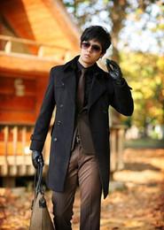Wholesale Casaco Inverno Masculino - Wholesale casual double-breasted woolen coat men trench coats overcoat mens cashmere coat casaco masculino inverno erkek england black grey