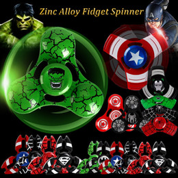 jouet à araignée Promotion Metal Fidget Spinner Captain America Spinner à main Spider Man Iron Man Finger Gyro pour décompression Toy Anxiety with Retail box