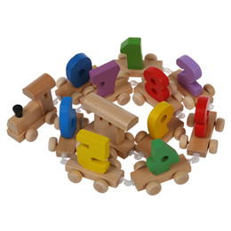 Wholesale mini wooden toy train - Wholesale- Digital Number Wooden Train Figures Railway Kids Wood Mini Toy Educational