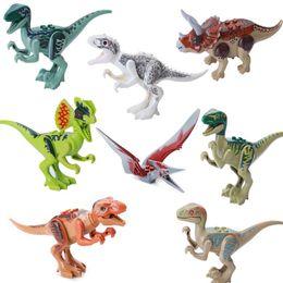 Wholesale Wholesale Dinosaur Toys - 8pcs lot Jurassic Dinosaur Figures Model Bricks Mini Figures Building Blocks Dinosaur Models Children Kids Toys Compatible 170313