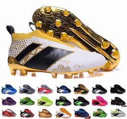 Wholesale Cheap Soft Ground Soccer Cleats - Cheap Ace 16+ Purecontrol Primeknit Soccer Cleats Firm Ground Cleats Trainers NSG FG CG ACE 16 Mens Football Boots Soccer Shoes With Box