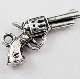 Wholesale Gun Charms Wholesale - Hot ! 60Pcs Antique silver Zinc Alloy Tone Gun Charms Pendants 11x21mm (00580)