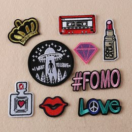 Wholesale Embroidered Appliques - 9pcs lot Patches Mixed Design Clothing Patch DIY Flowered Skeleton Embroidered Patches Iron On Fabric Badges Sew On Cloth Applique