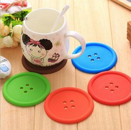 Wholesale Free Coffee Tables - Cute Silicone Round Button Coaster Home Table Decor Coffee Drink Placemat Cup Mat Pad Hot Sale Free Shipping H703
