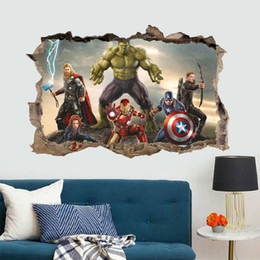 Wholesale America Wallpapers - The Avengers Super Heroes wallpaper Kids Boy cartoon Hulk Captain America Wall stickers Home Décor free shipping