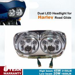 Wholesale Dual Motorcycle Headlight - Motorcycle Headlamp Chrome high low beam Dual LED Headlights for Harley Davidson Road Glide Led Lighting Bulb Headlight