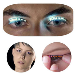 Wholesale Wholesale Individual Led Light - Halloween LED Strips False Eyelash Sticker 3d Led Lashes Eye Makeup Waterproof Light Fake Eyelashes Extension