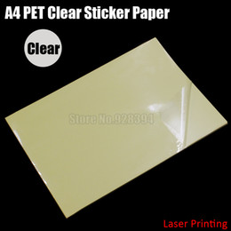 Wholesale Adhesive Laser Paper - Wholesale- 2016 30pcs A4 Clear Transparent PET Film Adhesive Paper Sticker Paper Waterproof Fit Laser Printer