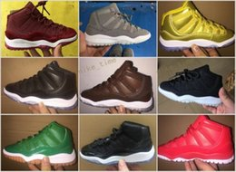 Wholesale Gs Sizes - 2017 New Air Retro 11 Space Jam Kids Sport Basketball Shoes GS Heiress Suede Maroon Retro 11s Sneakers 72-10 Gold Gamma Blue Size 28-35