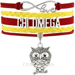 Wholesale Straw Owls - Custom-Infinity Love Chi Omegaa Owl Charm Wrap Bracelets Best Gift Cardinal Straw Suede & Leather Bracelets Women's Fashion