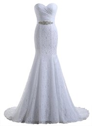 Wholesale Sweetheart Mermaid Satin Chapel - 2017 Free Shipping Lace Mermaid Wedding Dresses Lace Back Up Sweetheart Neck Bridal Gowns Wedding Gowns