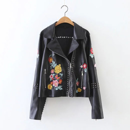 Wholesale Trench Coats Leather Sleeves - Women's PU Leather Jacket Fashion Rivet Jacket American Style Winter Embroidery Floral Coat Women Trench Hip-Hop Outwear Free Shipping