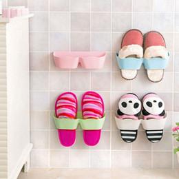 Wholesale Wall Mount Shoe Rack - Creative 3D Wall-mounted Plastic Shoe Hanger DIY Self-adhesive Shoe Rack Bathroom Sets Home Storage