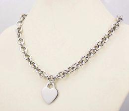 Deutschland 10mm Breite Edelstahl Metall Silber Kette Link Halskette für Frauen große Herz Anhänger Charme 2,9 cm * 2,4 cm Herz leere Tags Versorgung