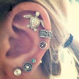 Wholesale Beautiful Girl Earring - Vintage Boho Style Stud Earrings Beautiful Carving Tortoise Earring Set Women Girl Fashion Crystal Jewelry Xmas Gift A058