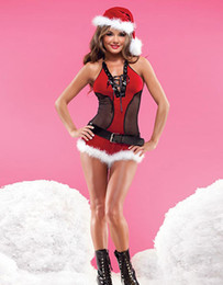 Wholesale Ladies Santa Lingerie - Newest Women Christmas Costumes Sexy Red Christmas Lingerie Santa Claus Costumes for Adults Uniform Festival Suit for Ladies W324007