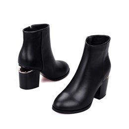 Wholesale Good Boots For Winter - Good Quality Black Leather Ankle Boots For Women Pointed Toe Fretwork Heel Cut Outs Booties Side Zipper Botas Mujer