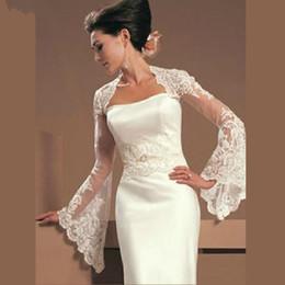 Wholesale Bridal Gown Lace Shawl - White Ivory Lace Wraps Wedding Jacket Trumpet Sleeves Bridal Bolero Shrug Custom Bridal gown with jacket 2018