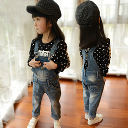 Wholesale High Waist Jeans For Kids - 2016 New Spring Children Jeans High Waist Pepe Quality Jeans For Girls Kids Jean for Children Denim Pants Denim Bib C1105