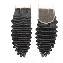 "Wholesale Deep Wavy Remy Hair - 100 Virgin Peruvian Top Closures Human Hair 4X4 Brazilian Remy Deep Wavy Lace Closures Hair Pieces 1B Middle Part 130% 10""-20"""