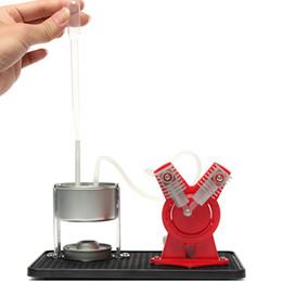 генератор набора Скидка Оптовая продажа-Twin Live паровой двигатель модель комплект + светодиодный генератор учебное оборудование обучение образование наука Открытие игрушки для детей