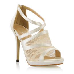 Canada Ivoire Dentelle Femmes Sandales Chaussures 2017 Chaussures De Mariage De Mariée Peep Toe Image Réelle Été Style Chaussures De Fête De La Nouvelle Arrivée supplier ivory lace wedding sandals Offre