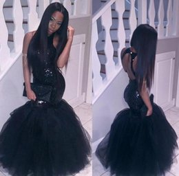 Wholesale Mermaid Corset Prom Dress - Sparkly Black Girls Mermaid African Prom Dresses 2017 Halter Neck Sequins Tulle Sexy Corset Formal Dress Cheap Party Pageant Gowns